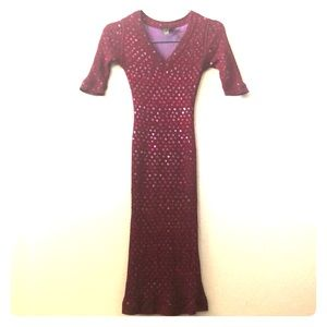 ZAC POSEN FITTED MAROON BLING KNIT DRESS M